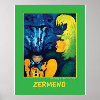 """""""Cirque Mère Et Enfant"""" (Light Green) by Zermeno Poster"""