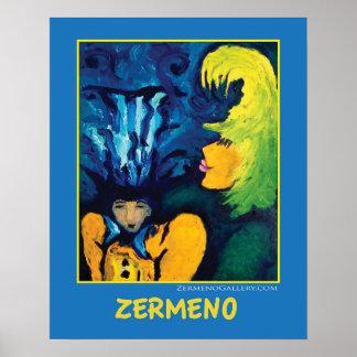 """""""Cirque Mère Et Enfant"""" (on blue) by Zermeno Poster"""