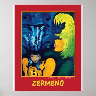 """Cirque Mère Et Enfant"" on Red by Zermeno Poster"