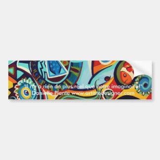 Cirque y cocasseries - diseño de la bella arte etiqueta de parachoque