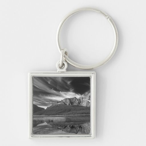 Cirrus clouds over Waterfowl Lake, Banff Key Chains
