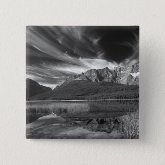Cirrus clouds over Waterfowl Lake, Banff Pinback Button