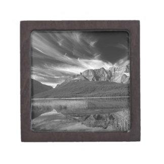 Cirrus clouds over Waterfowl Lake, Banff Premium Keepsake Boxes