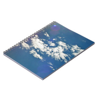Cirrus clouds with lens flare spiral notebook