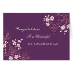 Ciruelo de la enhorabuena del boda del hijo y de tarjeta de felicitación