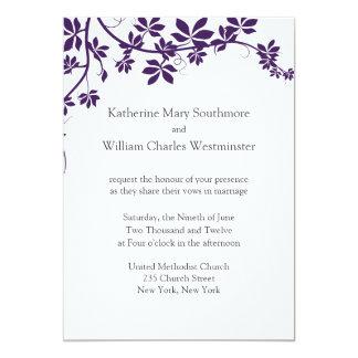 Ciruelo e invitaciones blancas del boda invitación 12,7 x 17,8 cm