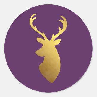 Ciruelo elegante y falsa cabeza de los ciervos de pegatina redonda