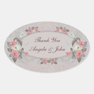 Ciruelo floral del vintage, polvoriento oval pegatina ovalada