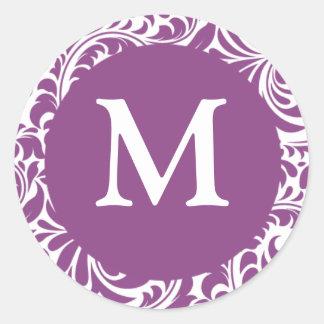 Ciruelo ligero del monograma M y pegatinas blancos Pegatina Redonda