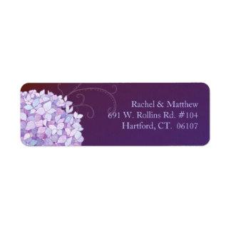 Ciruelo púrpura del Hydrangea que casa la etiqueta Etiqueta De Remite
