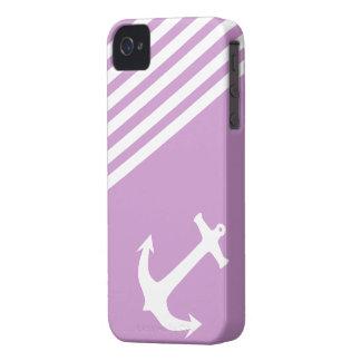 Ciruelo púrpura náutico iPhone 4 carcasas