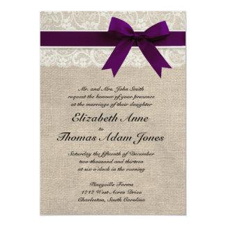 Ciruelo rústico de la invitación del boda del