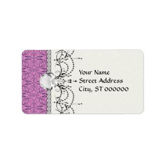 ciruelo y damasco complejo púrpura del remolino etiqueta de dirección