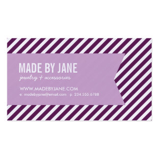 Ciruelo y rayas y cinta modernas púrpuras de la tarjeta de visita