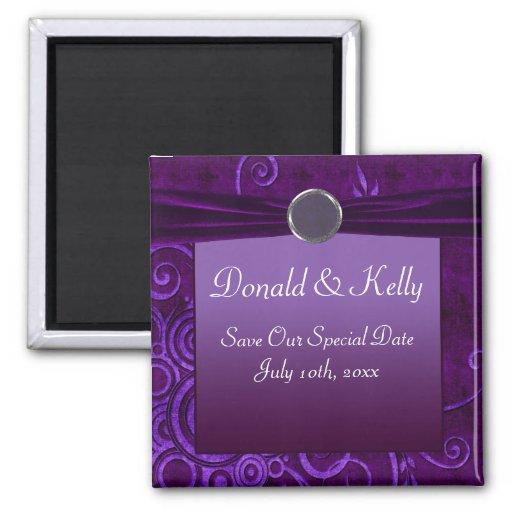 Ciruelo y remolino púrpura del boda del terciopelo imán cuadrado