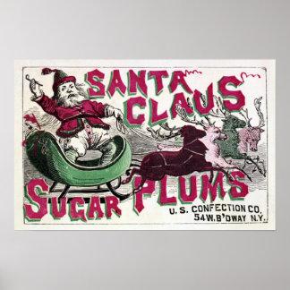 Ciruelos del azúcar de Papá Noel - navidad del vin Póster