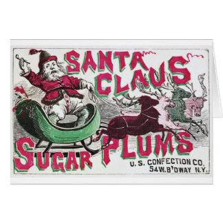 Ciruelos del azúcar de Papá Noel Tarjeta De Felicitación