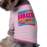 Cirugía colorida camisetas de perro