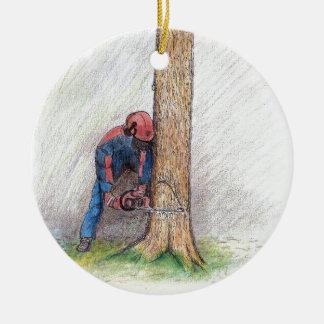 Cirujano de árbol del arborista Stihl Adorno Navideño Redondo De Cerámica