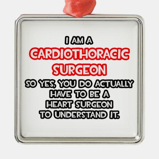 Cirujano de corazón. Cirujano de Cardiothoracic Adorno Cuadrado Plateado