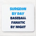 Cirujano del fanático del béisbol del día por noch tapetes de ratones