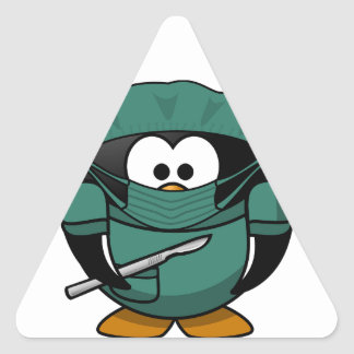 Cirujano del pingüino pegatina triangular