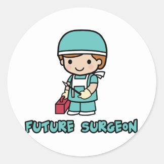 Cirujano muchacho etiqueta redonda