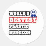 Cirujano plástico de Bestest del mundo Pegatinas Redondas