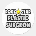 Cirujano plástico de la estrella del rock etiquetas redondas