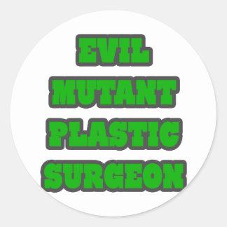 Cirujano plástico del mutante malvado etiqueta redonda