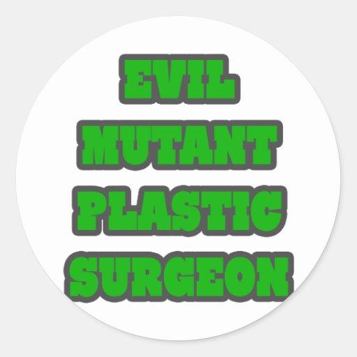 Cirujano plástico del mutante malvado pegatina redonda