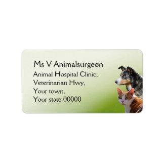Cirujano veterinario etiquetas de dirección