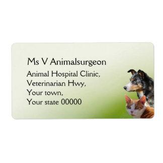 Cirujano veterinario etiqueta de envío