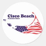 """Cisco Beach """"Surf"""" Design. Round Stickers"""