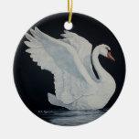 Cisne blanco adorno redondo de cerámica