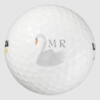 Cisne blanco con monograma pack de pelotas de golf