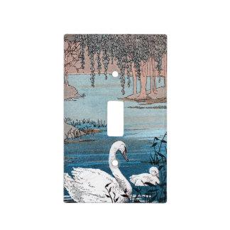 Cisne blanco del bebé del cisne de la natación ele tapa para interruptor