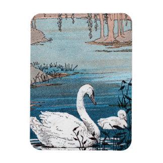 Cisne blanco elegante con el bebé iman rectangular