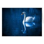 Cisne blanco en tarjeta de nota de las aguas azule