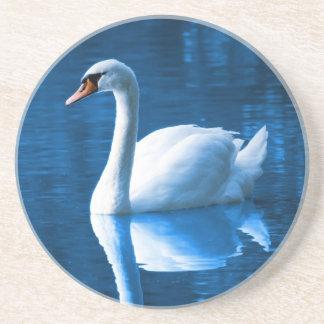Cisne blanco hermoso en agua posavasos manualidades