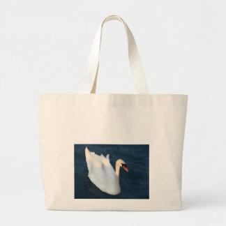 Cisne blanco hermoso en la bolsa de asas del lago