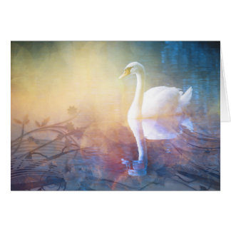 Cisne bonito en tarjeta de felicitación del lago
