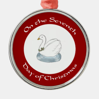 Cisne con el séptimo día del acebo de ornamento de ornamento para arbol de navidad