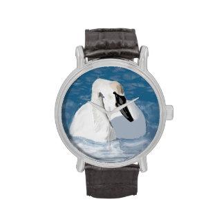Cisne dibujado mano relojes de pulsera