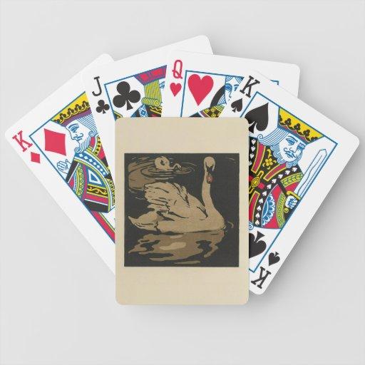 Cisne - ejemplo cuadrado de los animales barajas de cartas