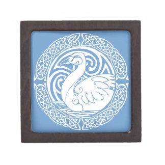 Cisne en nieve caja de recuerdo de calidad