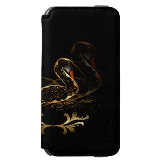 Cisne en oro y negro funda billetera para iPhone 6 watson