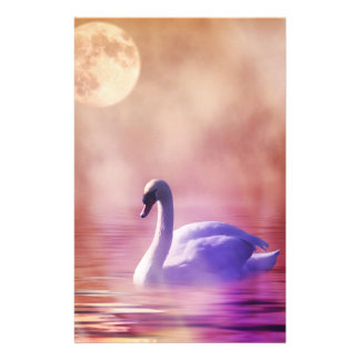 Cisne en un papel brumoso del libro de recuerdos  papeleria