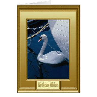 Cisne en un puerto deportivo tarjeta de felicitación