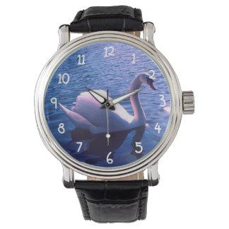 Cisne hermoso en el lago reloj de mano